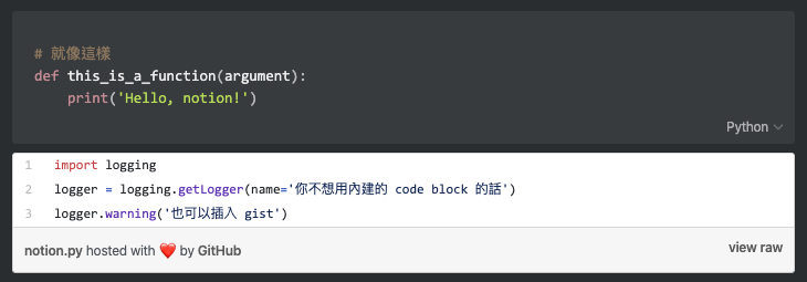 notion code block